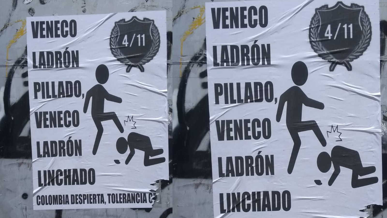 Vuelven a aparecer carteles con mensajes xenófobos en Bogotá