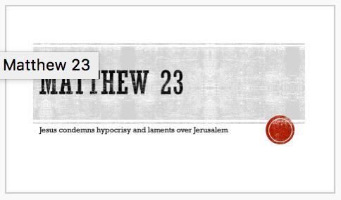 Matthew 23 PowerPoint