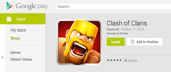 install clash of clans in play store
