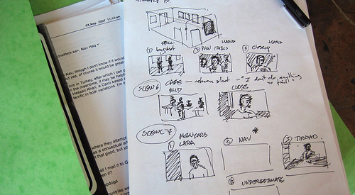 Movie production storyboard
