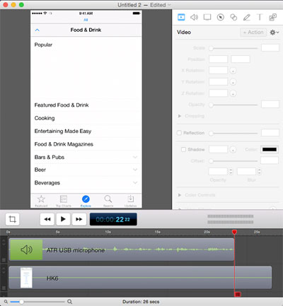 ScreenFlow editing screen