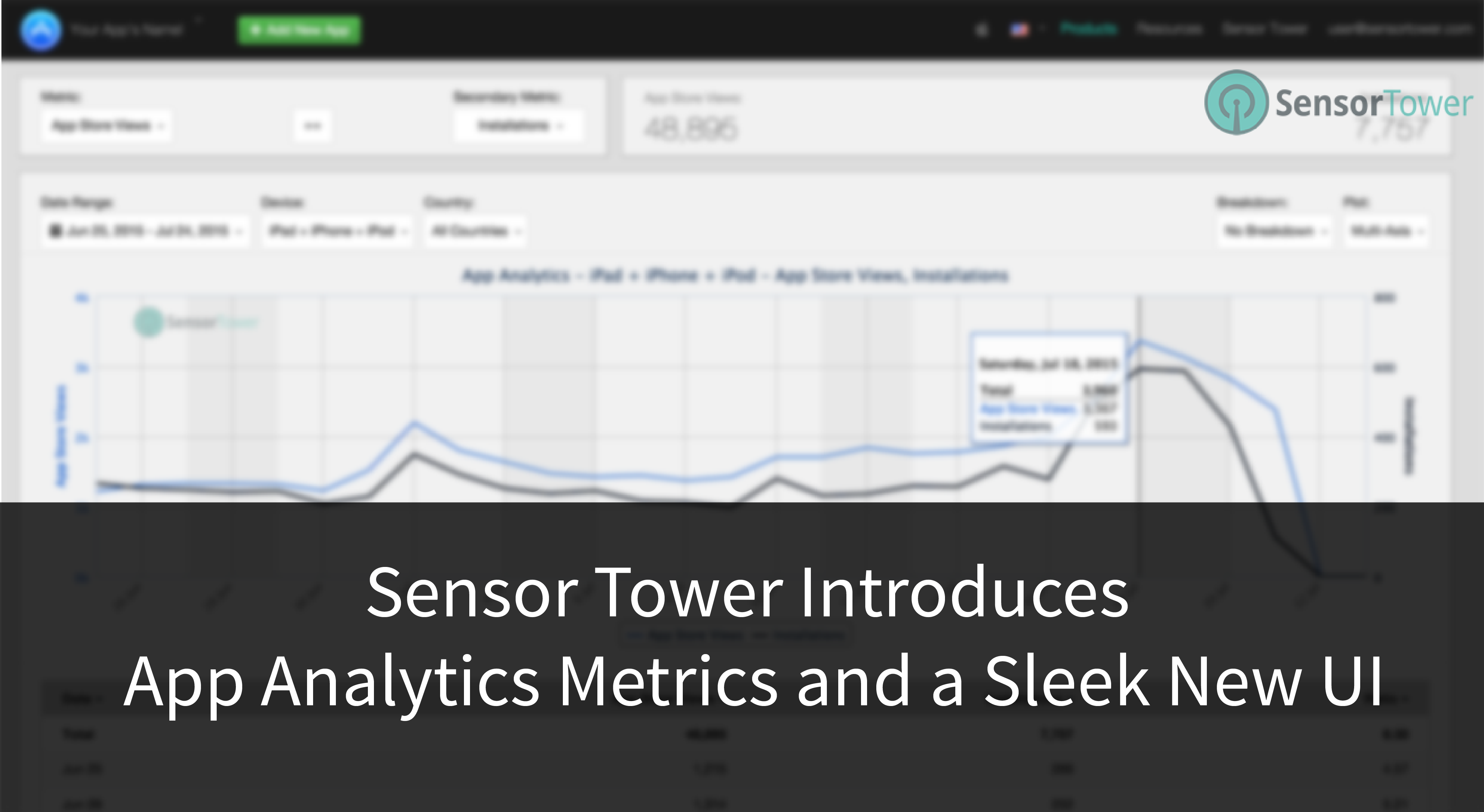 Title Image for Sensor Tower Introduces App Analytics Metrics and a Sleek New UI
