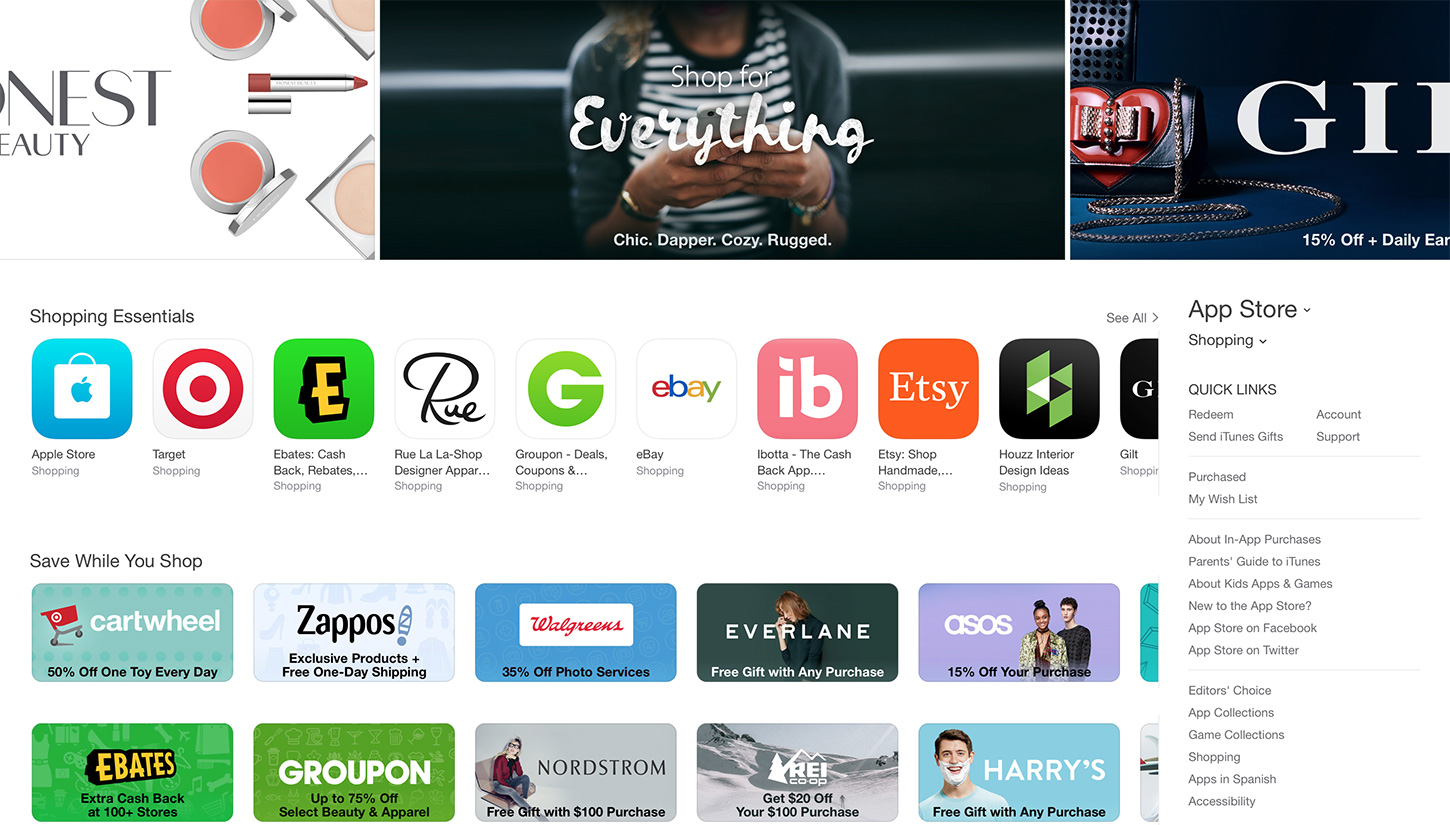 iTunes App Store Shopping Category Landing Page