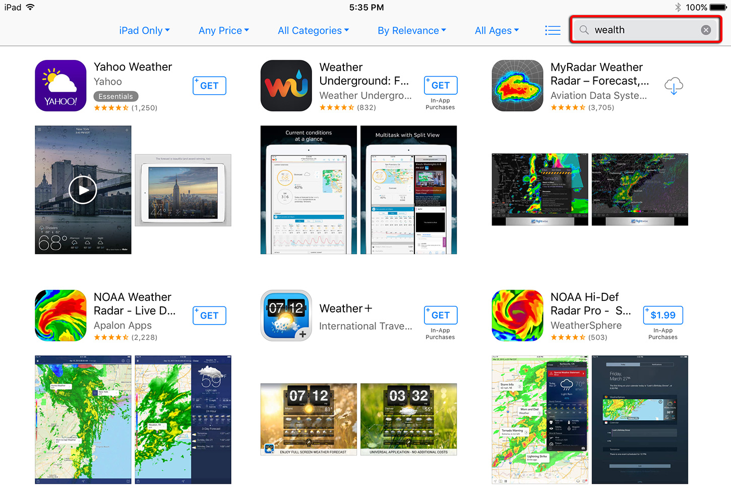 iPad Screenshot of App Store Search Anomaly