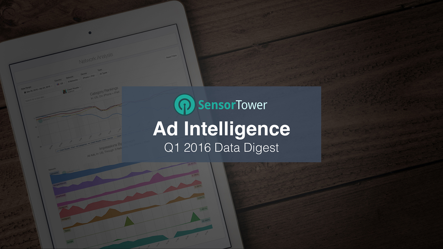 Cover of Sensor Tower's Q1 2016 Ad Intelligence Data Digest