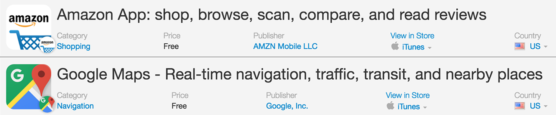 Google Maps and Amazon App Names