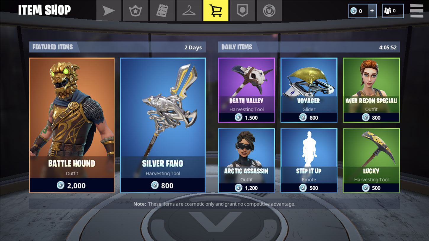 Screenshot of Fortnite's shop screen on mobile  - fortnite shop - Mobile Fortnite Players Spent More Than $1 Million In-Game During First 72 Hours