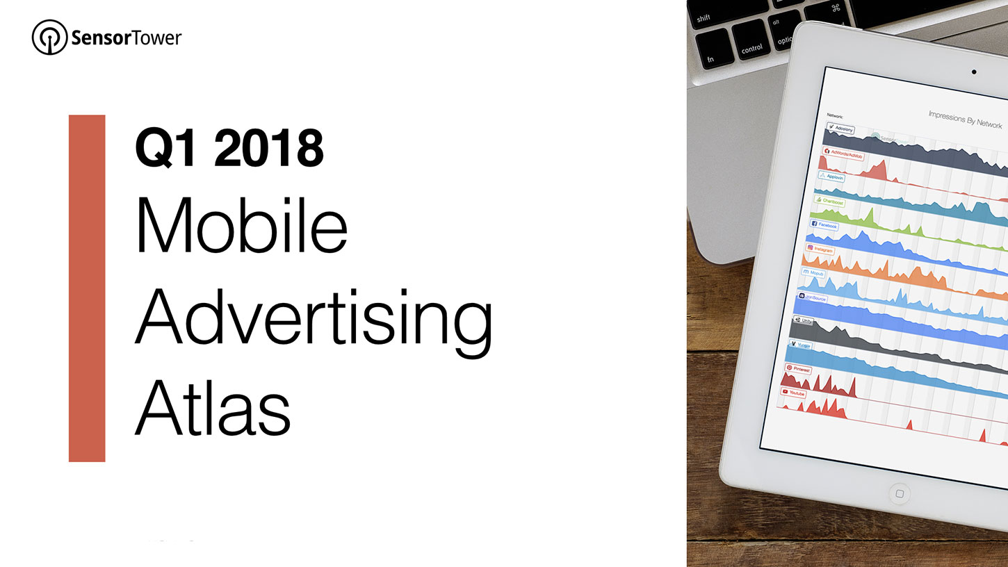 Cover of Sensor Tower's Q1 2018 Mobile Advertising Atlas  - q1 2018 ad intelligence report cover - The Top Ad Install Advertisers on Facebook, Instagram, and More