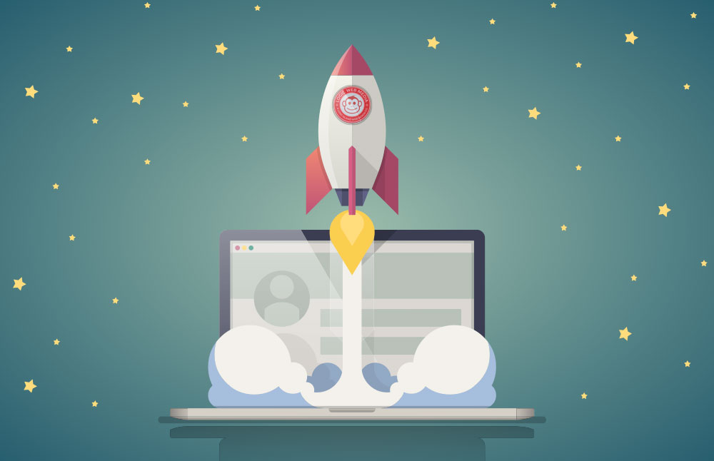 graphic showing website speed with laptop and rocket