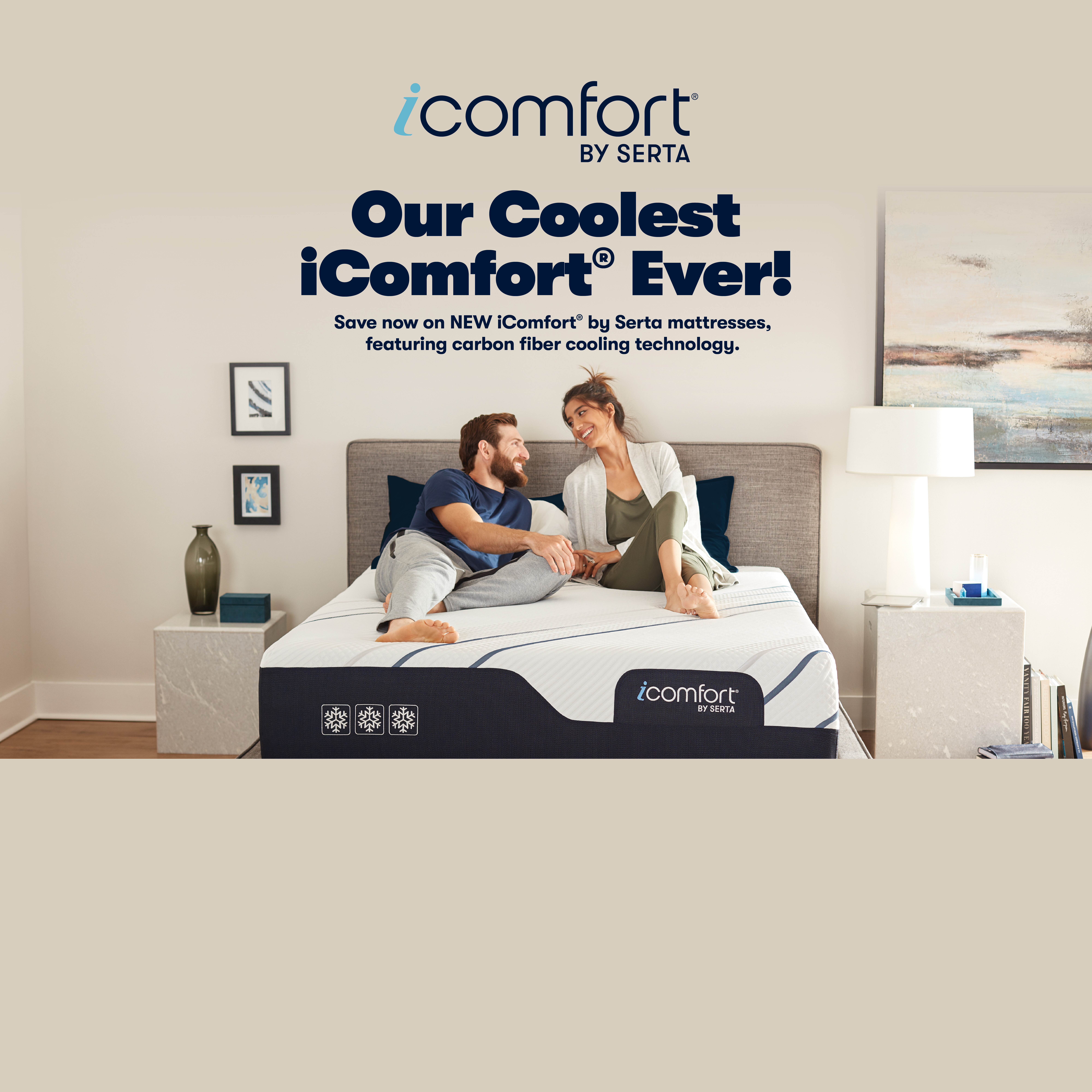 Couple laying on Serta iComfort Hybrid mattress