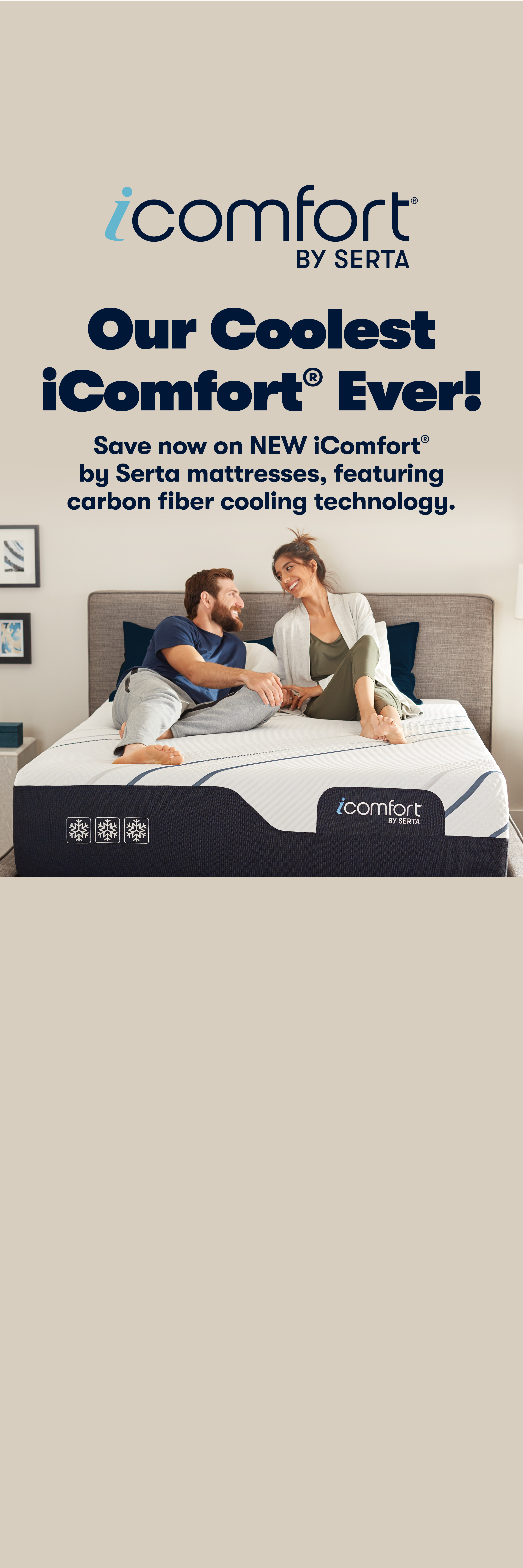 Couple laying on Serta iComfort Hybrid mattress