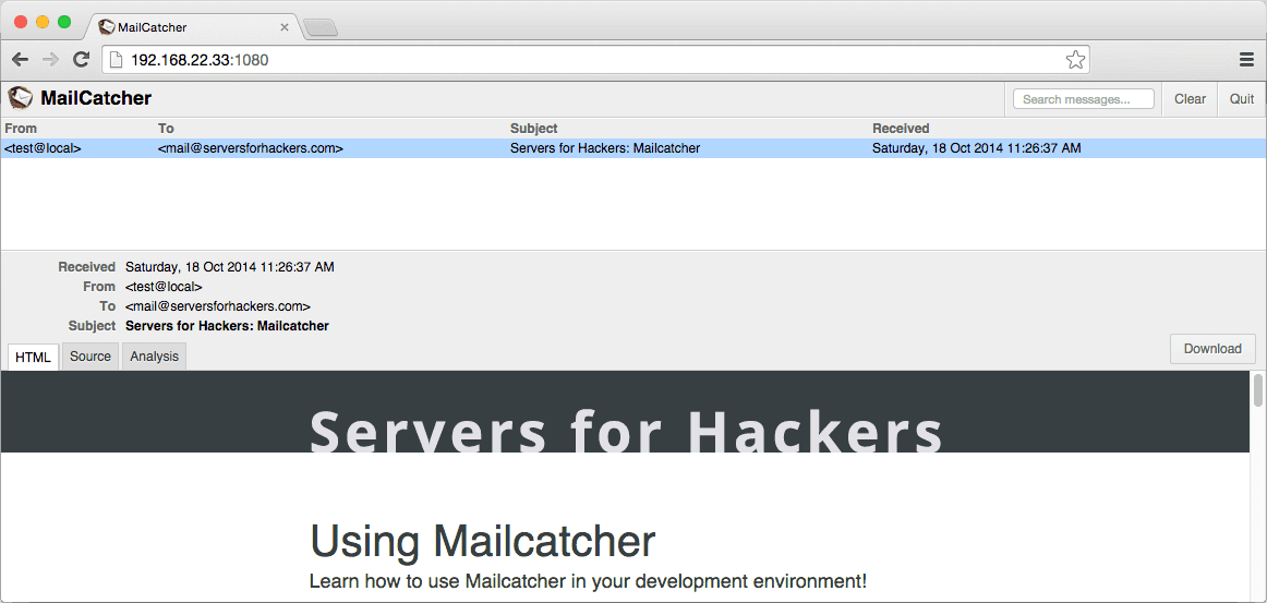 mailcatcher web interface