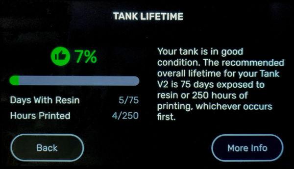 Оставшийся срок службы ванночки для смолы Formlabs в 3D принтере Form 3