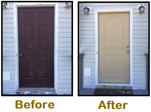 construction job door before and after look