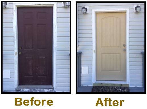 construction job door before and after look
