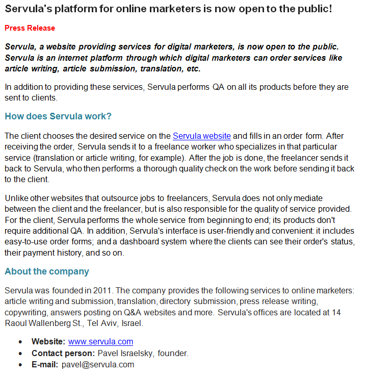 example of a press release format