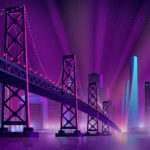 golden gate bride purple illustration