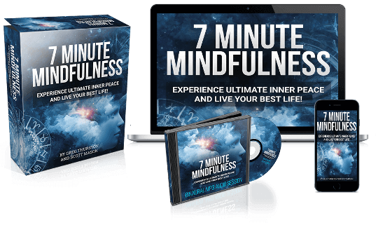 2 large boxes and a cd holder and a phone stating '7 minute mindfulness'