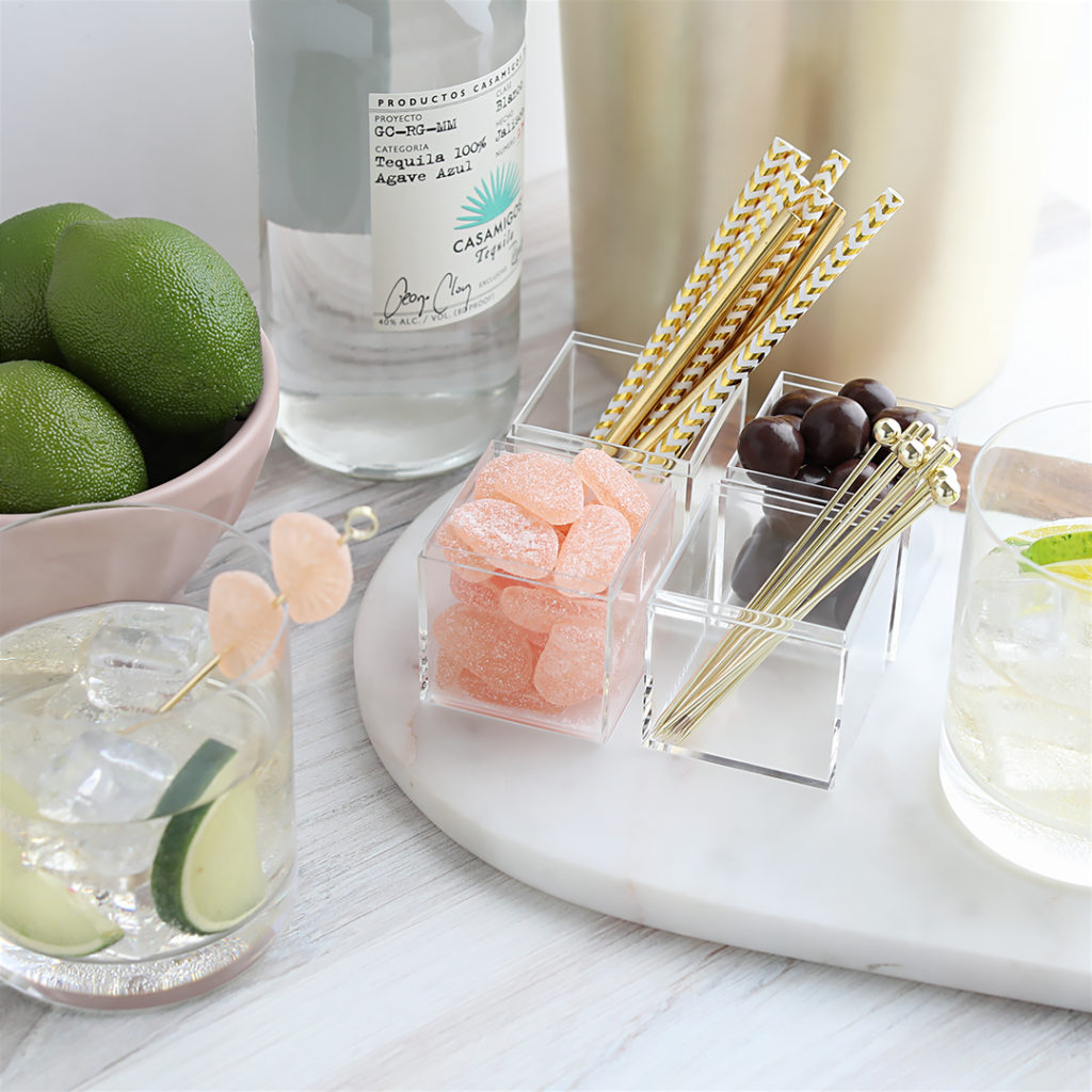 Elevate your happy hour or brunch by storing paper straws or garnishes in Candy cubes. Cheers!