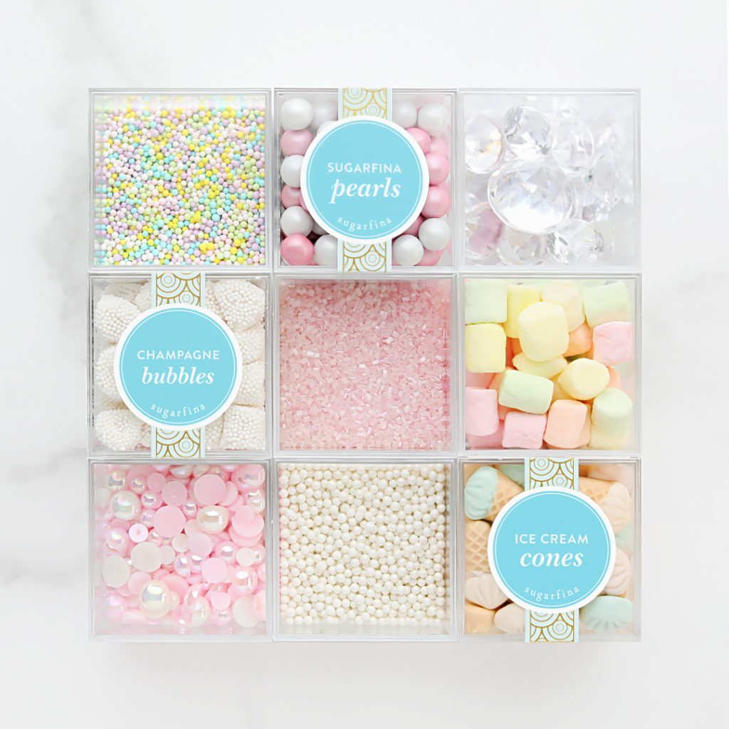 Trade bulky boxes for the pantry of your dreams when you use Sugarfina Candy Cubes to store snacks or cake decorating supplies. They may be tiny, but that makes them the perfect size for storing on-the-go snacks and decorations—just grab and go!