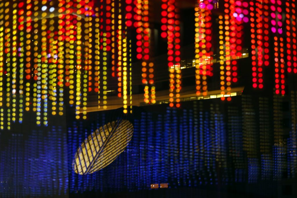 New $1 5 million LED light show at Moscone Center flashes to