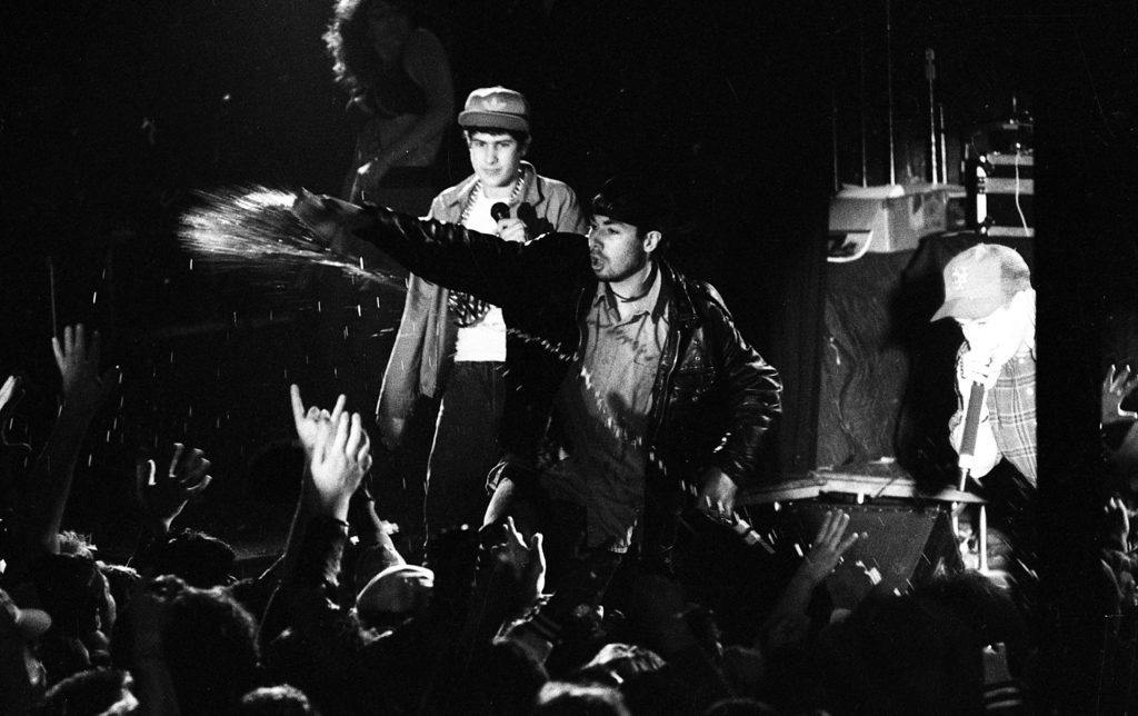 """a0f6b6ac The Beastie Boys perform at Wolfgang's on Feb. 2, 1987, at the beginning of  their widespread success following release of their """"Licensed to Ill""""  recording."""