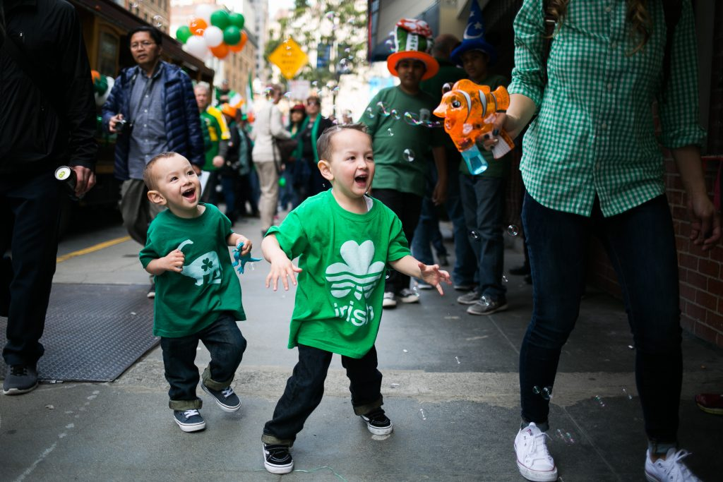 27cddd8a1 Pilar Manning (right) blows bubbles for her sons, Tanner Manning, 4, and  Sawyer Manning, 2, during the 2017 San Francisco St. Patrick's Day Parade.