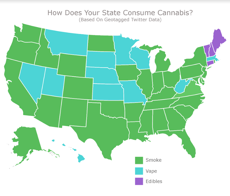 Does your state prefer to smoke, vape or eat its cannabis? This new map reveals the numbers