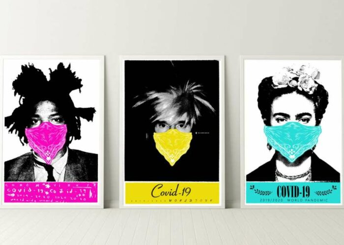 Masked prints of Jean-Michel Basquiat, Frida Khalo and Andy Warhol to benefit local artists