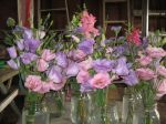 Lisianthus bouquets awaiting CSA delivery