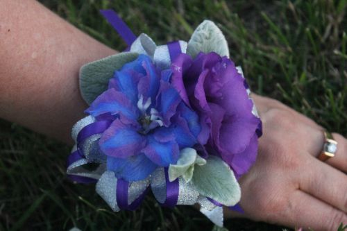 Wrist corsage for a June Wedding
