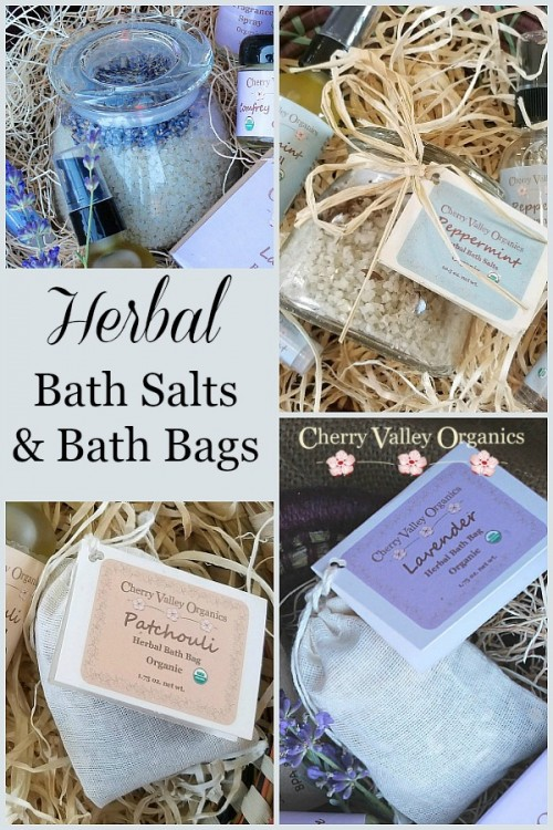 Herbal organic bath salts and bath bags are used for relaxation and to improve circulation and reduce inflammation. #herbalproducts #bathsalts