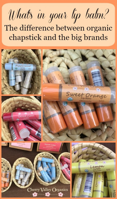 Do you know what's in your chapstick? Handmade organic chapsticks are free of synthetic chemicals, dyes, and fragrances.