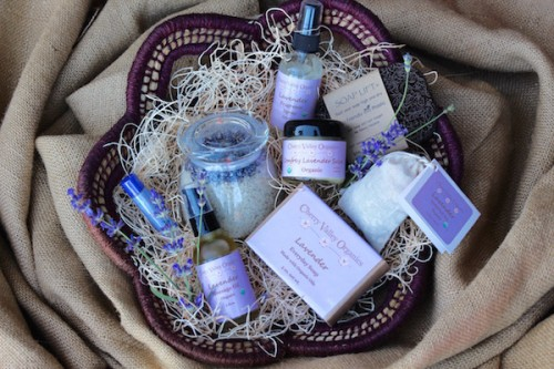 Organic body care gift basket