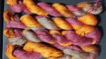 Dyed yarn orange and browns