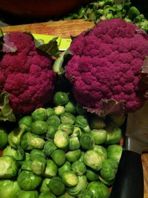 Purple cauliflower and Brussels sprouts