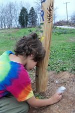 Gavin at the Peace Pole