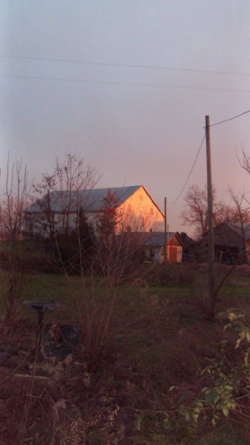 Sunlight on barn