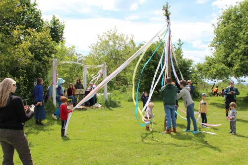preparing the May pole