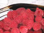 A plate of yummy raspberries
