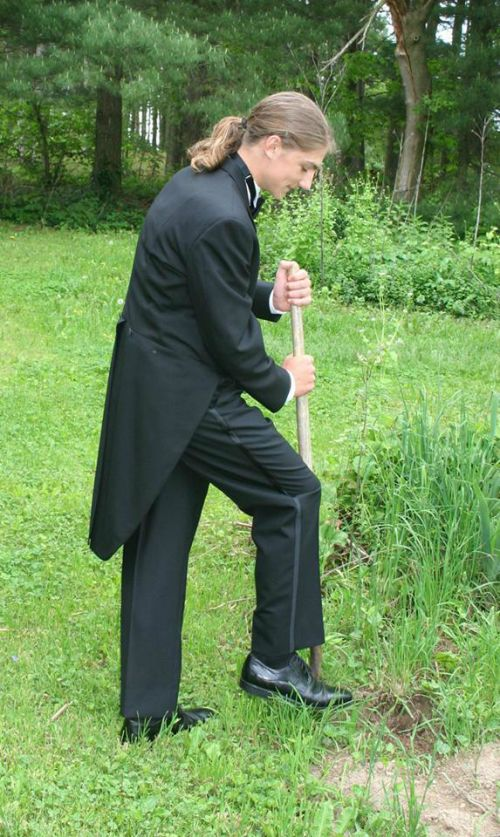 Bala, getting ready for prom.....or is the shovel his date???