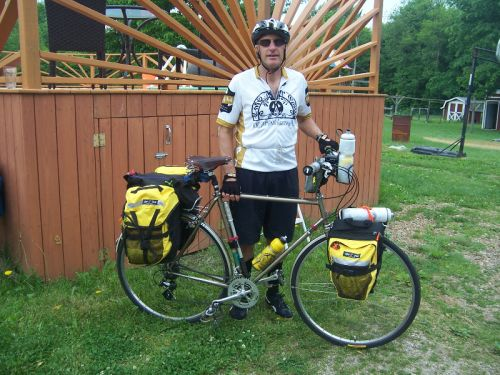 6.4.14.Joe, day one of his bikeride to California. He made a courtesy stop at the farm on his way north