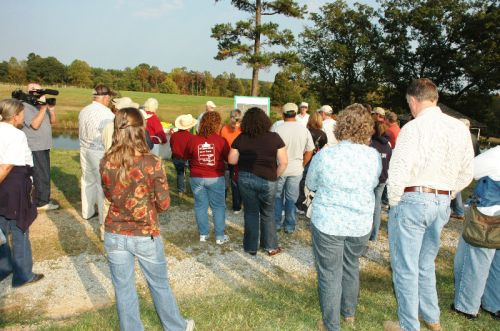 85 guests tour Waverly Farms and learn about pastures, rotational grazing and goats.