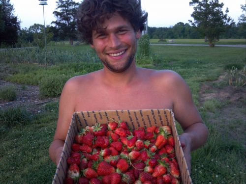 Nick shows off strawberries