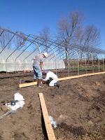 Hoophouse arches going up, thanks to everyone that helped out.