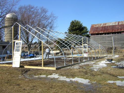 First Greenhouse going up.