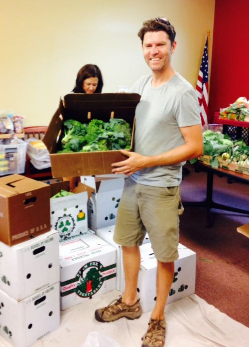 Dom with our produce donation at Cuba Township Food Pantry