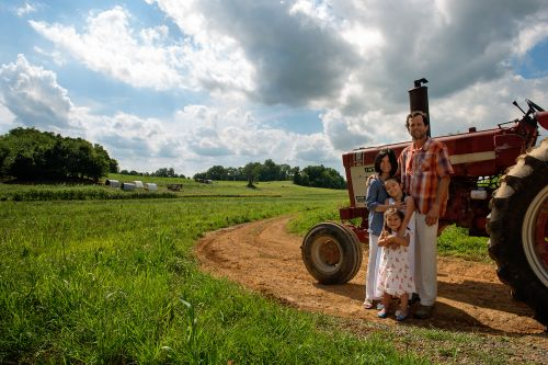 Farmer Mike, wife Deim, and daughters Sage & Harper