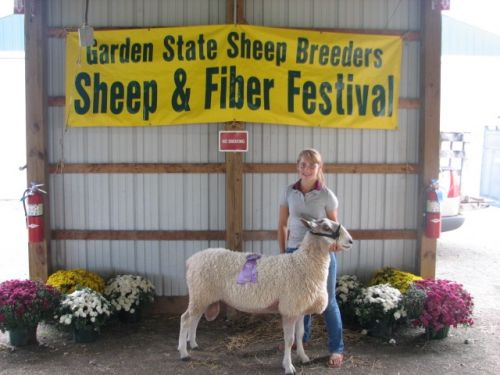 "Hannah with Ashton, aka  ""Poopsie"". He won Grand Champion Ram"