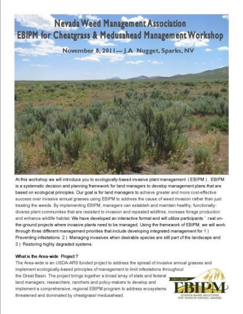 Nevada Weed Management Association EBIPM workshop flyer